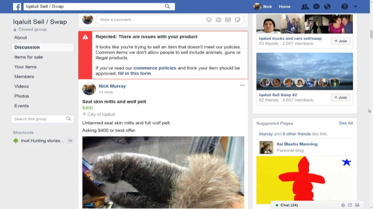 Facebook apologizes for blocking posts selling sealskin