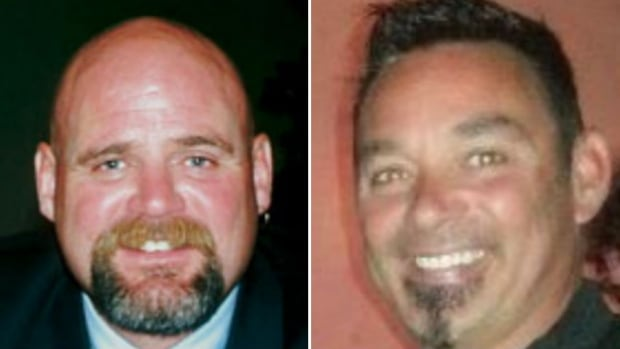 Steve Walton, left, and Anthony Braile are two of six people, mostly current and former Calgary police employees, who are charged in connection with a corruption, bribery and harassment investigation.