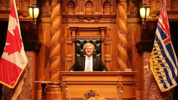 University of Victoria political science student Sky Losier is the sitting premier for the 2017 B.C. Youth Parliament.