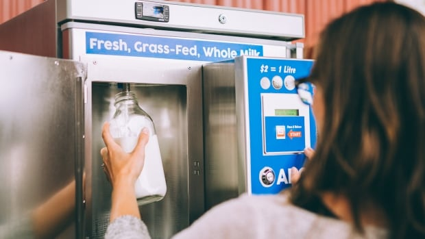People can bring their own containers or purchase bottles at the dairy to use the milk dispenser.
