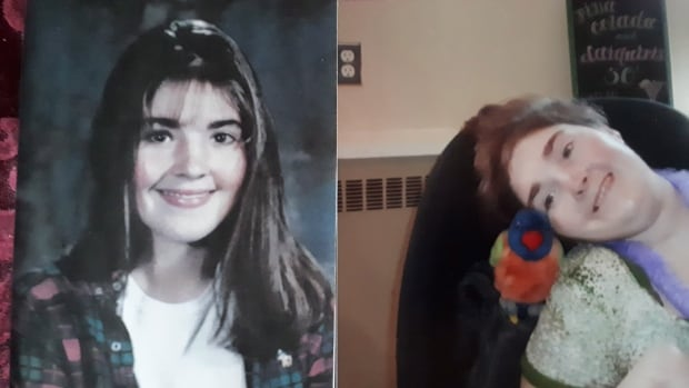 Joellan Huntley is shown in a pair of family handout photos. In what her mother calls a 'Christmas miracle,' the Nova Scotia woman who suffered a catastrophic brain injury in a 1996 car accident recently communicated one-on-one.