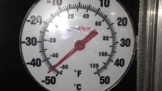 Ron Allen posted a photo on the 'Watson Lake Sunshine' Facebook page of a thermometer near the breaking point.