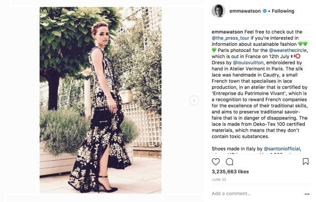 Emma Watson screen grab sustainable fashion
