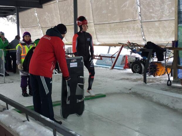 Evan Neufeldt skeleton race