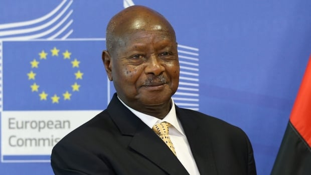 Ugandan President Yoweri Museveni, shown in a Brussels meeting with European Commission officials on Sept. 28, has been in power since 1986. On Tuesday, Museveni signed into law a bill that removes a presidential age limit from the constitution.
