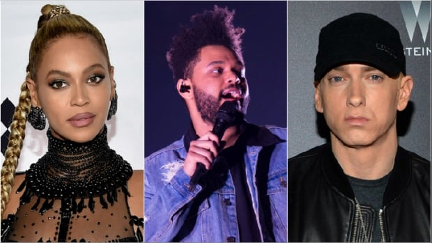 The 2018 Coachella Music and Arts Festival announced its 2018 headliners (from left): Beyoncé, The Weeknd and Eminem.
