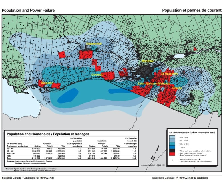 Cornwall Canada Map.Powerless 20 Years Ago Ice Storm Hammers Eastern Ontario Cbc News