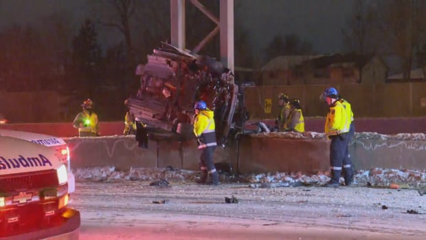 The car was almost torn in two from the impact of the crash in Scarborough, Ont.