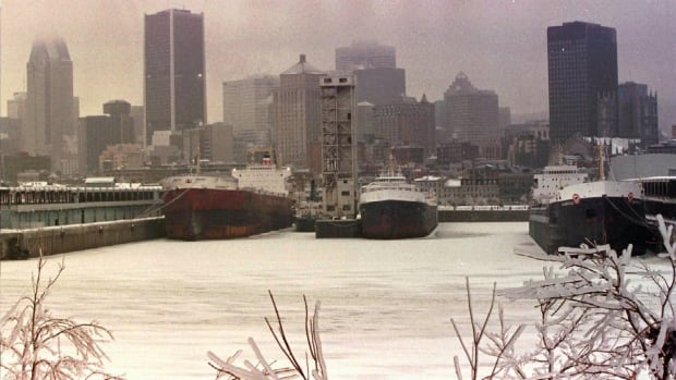This photo of the skyline of a Montreal without lights was taken at dusk on Jan. 9, 1998, the day most of the downtown core was left with no power.