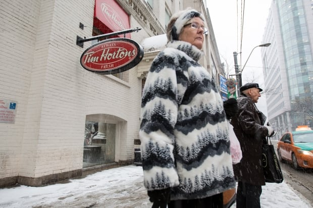 Tim Hortons outside in the snow