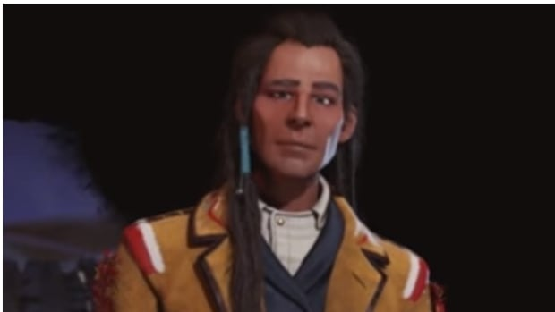 An image of Chief Poundmaker from the video game Civilization VI: Rise and Fall,  alongside a photograph of the historic chief.