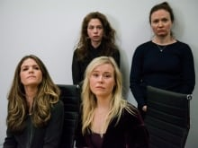 Plaintiffs, from left, Diana Bentley, Hannah Miller, Kristin Booth and Patricia Fagan attend a press conference after filing lawsuits alleging sexual harassment by Soulpepper Theatre Company director Albert Schultz.