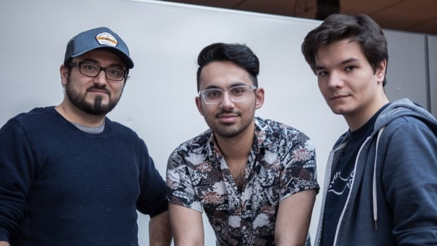 Pavlo Malynin, right, and co-creators Qasim Rasi, left, and Hammad Jutt, centre, created Nelo, a social marketplace app where users can by items seen in moves and television.