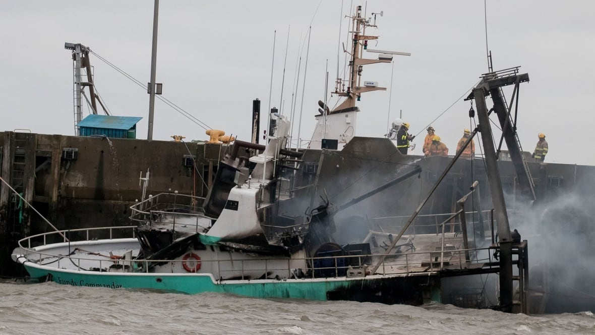 Winds whip fire on yarmouth fishing boat into 39 blow torch for Blow up boat for fishing