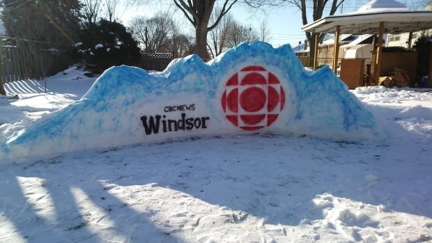 Jeff Myer's latest snow sculpture is of CBC News Windsor's logo.