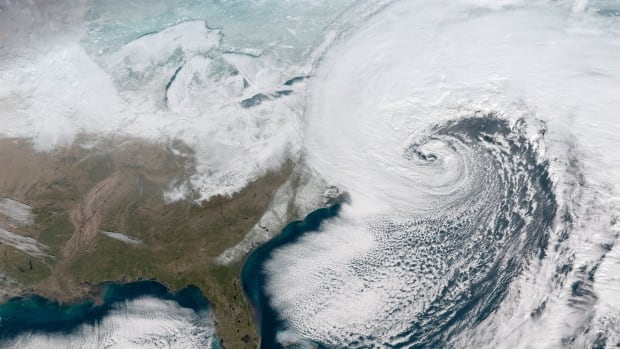 The 'weather bomb' as it made its way up the East Coast, as seen by a National Oceanic and Atmospheric Administration satellite on Jan. 4.