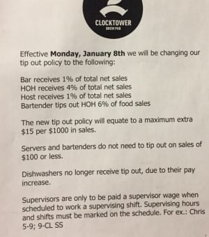 Memo about Clocktower Brew Pub tip policy Jan. 5, 2018