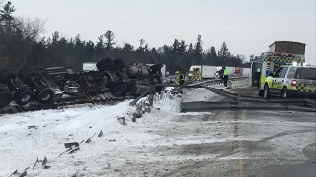 A 53-year-old Quebec man faces a single charge of careless driving after he rolled his tractor-trailer near Kingston, Ont., on Jan. 4, 2018, spilling lumber across the eastbound lanes of Highway 401.
