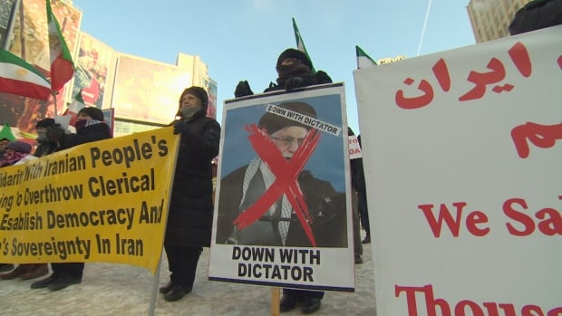 Demonstrators said they hoped to show those protesting in Iran that they have support in other countries.