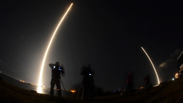 In this image made with a long exposure, the SpaceX Falcon 9 rocket launches from Cape Canaveral Air Force Station in Cape Canaveral, Fla., on Sunday. SpaceX launched a secret satellite codenamed Zuma on its first flight of the new year, but the satellite failed to reach orbit, officials say.