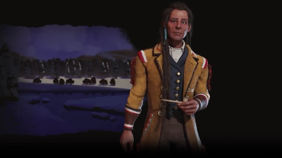 Chief Poundmaker as portrayed in the Civilization video game.