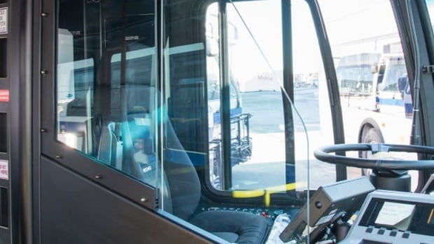 On Monday, Grand River Transit began a three-month pilot to try out three different styles of driver barrier on eight different buses. The one shown in the photo is the fixed system barrier.