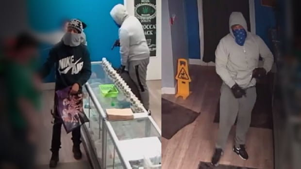 Police released an image from surveillance video of two suspects they say robbed a marijuana dispensary on Friday night.
