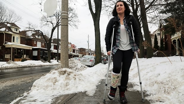 Alex Dupuis Potocki has been on crutches since December. The city towed her truck from just outside her apartment, without notifying her until almost two weeks later.