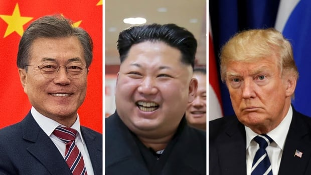 From left: South Korean President Moon Jae-in, North Korean President Kim Jong-un and U.S. President Donald Trump. North Korea experts believe the regime's outreach to the South for diplomatic talks could be a savvy attempt to drive a wedge in a decades-long alliance between South Korea and the U.S.