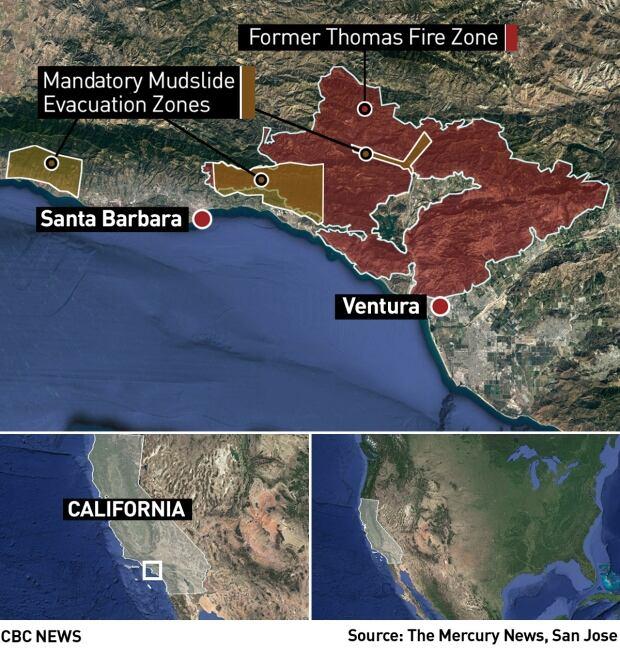 california map fires mudslides