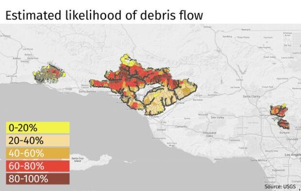 Map, Estimated Debris Flow