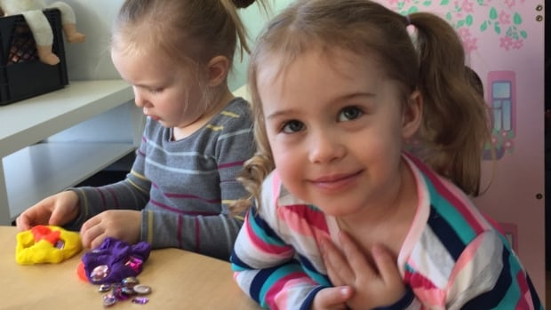 Two children at St. Joseph's Children's Centre in Bedford during Wednesday's announcement.
