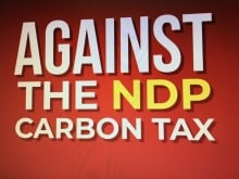 A series of radio ads against the carbon tax prompt listeners to sign a UCP petition.
