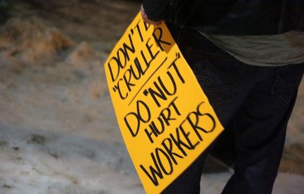 Tim Hortons protest sign