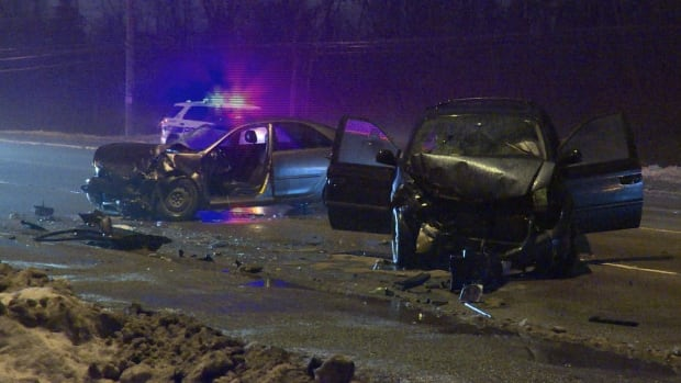 Three people were injured, one critically, in a Brampton crash late Wednesday and two are in police custody, Peel Regional Police say.