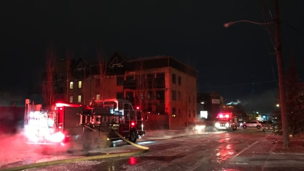 Five fire trucks were on the scene of the Halifax Street apartment patio fire on Thursday morning.