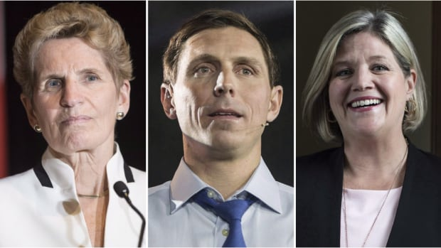 From left to right, Ontario Premier Kathleen Wynne, Ontario Progressive Conservative Leader Patrick Brown and Ontario NDP Leader Andrea Horwath. The next provincial election is on June 7.
