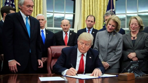 President Donald Trump signs into law the bipartisan Interdict Act to curtail opioids trafficking, during a ceremony in the Oval Office of the White House in Washington, Wednesday, Jan. 10, 2018. A fever of speculation has broken out about whether U.S. President Donald Trump might soon announce his intention to withdraw from NAFTA, as the talks enter their most sensitive phase.