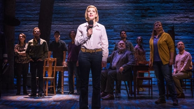 Steffi DiDomenicantonio, centre, and other cast members of the Mirvish/Junkyard Dog production of Come From Away, which runs at Winnipeg's Royal Manitoba Theatre Centre until Feb. 3.