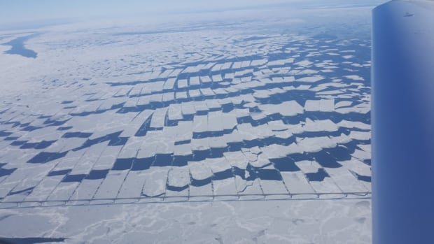 Pilot Paul Tymstra snapped this photo from his plane Wednesday afternoon. It shows ice cut into geometric patterns by Confederation Bridge.