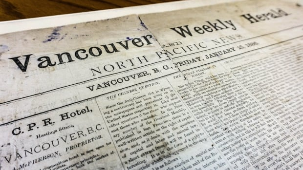 Printed Jan. 15 1886, this copy of the Vancouver Weekly Herald and North Pacific News is said to be the first printed paper in Vancouver history.