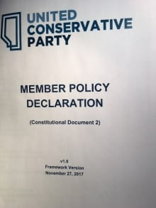 A policy paper circulated to UCP party members covers everything from art to finance