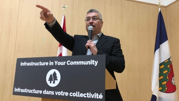 Member of Parliament for N.W.T., Michael McLeod, in Behchoko, N.W.T., for a joint federal, territorial funding announcement Thursday.