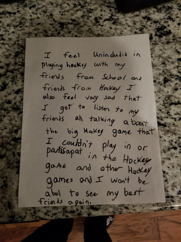 Letter written to Hockey Alberta by 10 year old Bryce Kohler