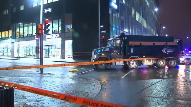 The driver of this truck was turning right onto Sanguinet St. when it struck a pedestrian crossing the intersection.