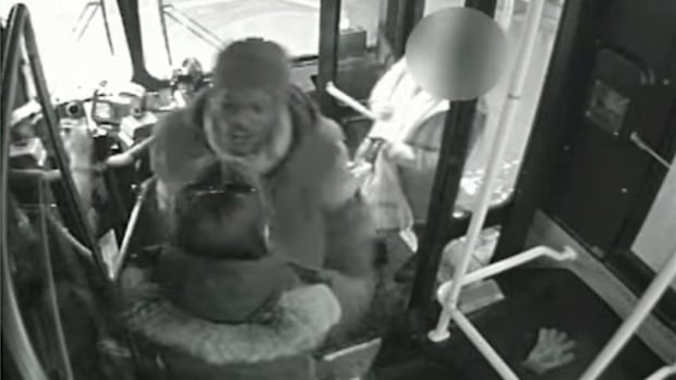 Toronto police have released security camera footage of a man allegedly assaulting a woman by throwing her off a TTC bus in Scarborough on Tuesday.