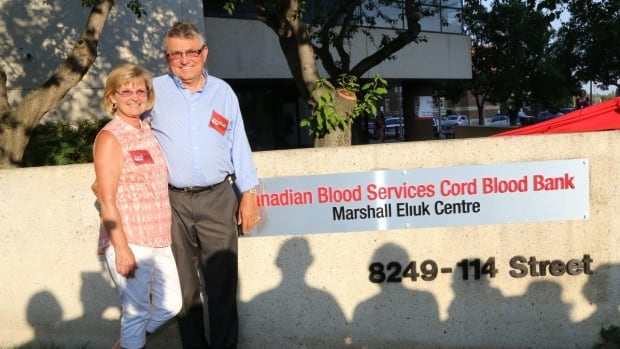Marshall Eliuk and his wife, Judi, outside the Marshall Eliuk Centre, named after him for his first donation to Canadian Blood Services.