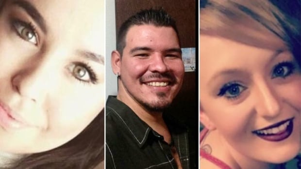 Tristan Dave-Lawrence (left), Cade Lavallee (centre) and Tanisha Peterson (right) were found unresponsive in a car near Conklin, Alberta on Tuesday morning.
