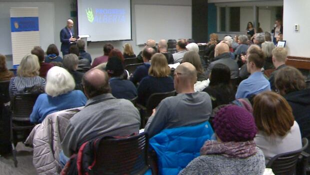Progress Alberta held a town hall at Kahanoff Centre and Conference Space in Calgary on Wednesday to discuss how to defeat Jason Kenney.