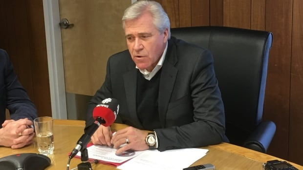 Premier Dwight Ball spoke with reporters on Friday to provide an update on the new Western Memorial Hospital and long-term care centre in Corner Brook.